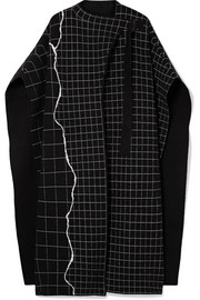 Reversible checked cashmere-blend cape