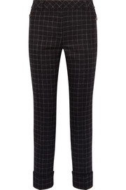 Checked wool-flannel straight-leg pants