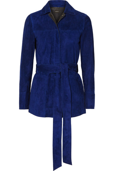 Akris - Belted Suede Jacket - Blue