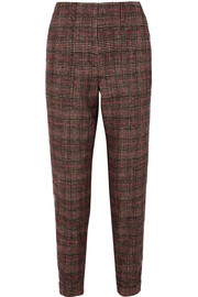 Checked tweed straight-leg pants
