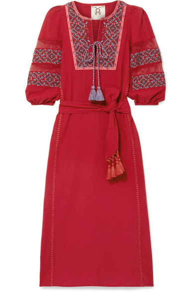Figue - Joni Crochet-trimmed Embroidered Cotton-voile Midi Dress