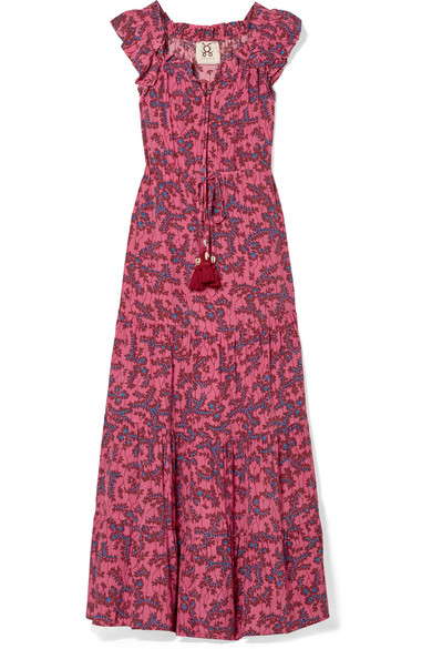 Figue - Gianna Ruffled Off-the-shoulder Floral-print Silk Crepe De Chine Maxi Dress - Pink