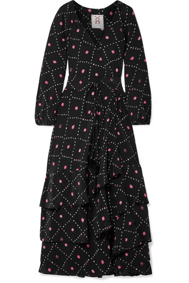 Figue - Frederica Printed Silk Crepe De Chine Maxi Dress - Black