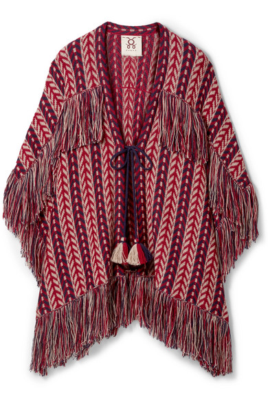 Figue - Formentera Fringed Alpaca Cardigan - Burgundy