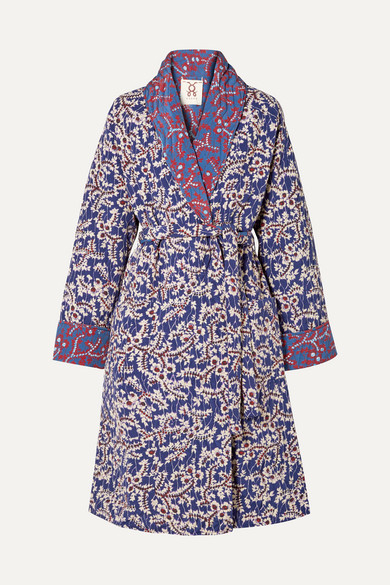 Figue - Karina Reversible Quilted Floral-print Silk Crepe De Chine Coat - Blue