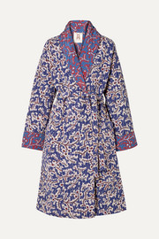 Figue Karina reversible quilted floral-print silk crepe de chine coat
