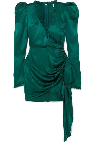 Magda Butrym - Carlton Wrap-effect Ruffle-trimmed Silk-satin Jacquard Dress - Forest green
