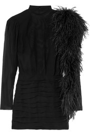 Magda Butrym Dubai feather-trimmed silk-georgette mini dress