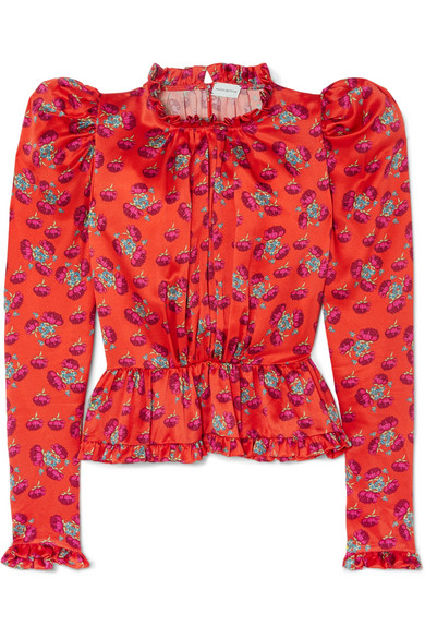 Magda Butrym - Normandy Ruffle-trimmed Floral-print Silk-satin Peplum Blouse - Bright orange
