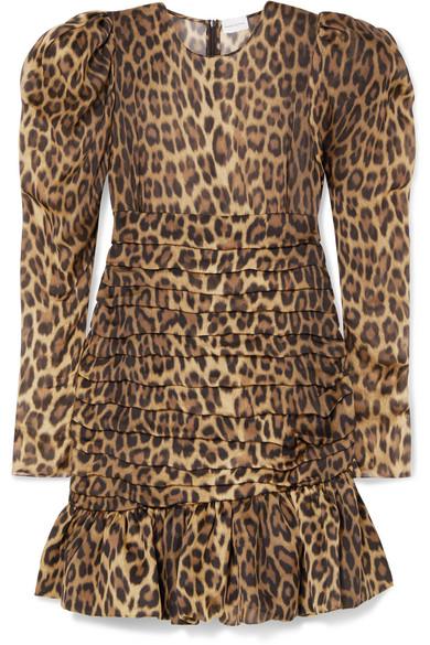 6346349d0cd9 Magda Butrym | Borneo ruched leopard-print silk-chiffon mini dress ...