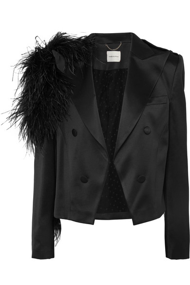 Magda Butrym - Lubeck Feather-trimmed Silk And Wool-blend Blazer - Black