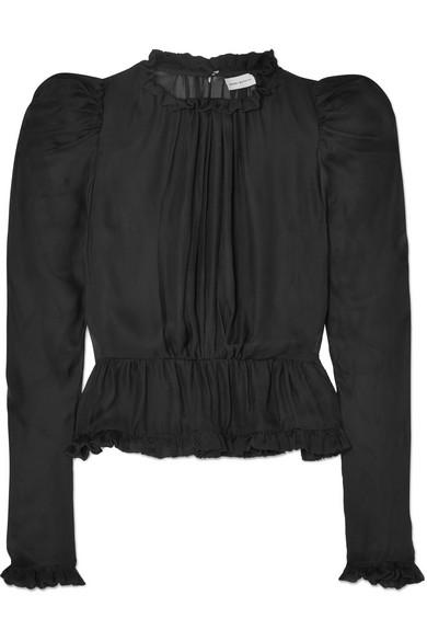 Magda Butrym - Normandy Ruffle-trimmed Silk-chiffon Peplum Blouse - Black