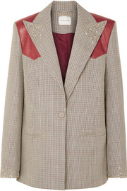 Magda Butrym Arkansas oversized leather-trimmed embellished houndstooth wool blazer