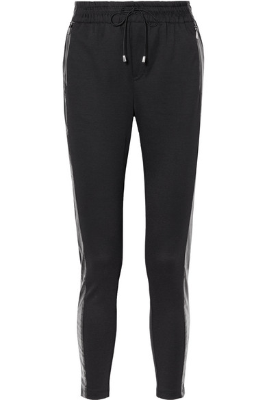 HEROINE SPORT Blade Vinyl-Trimmed Stretch-Jersey Track Pants in Black