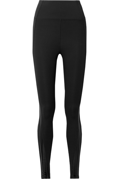 HEROINE SPORT Eclipse Vinyl-Trimmed Stretch Leggings in Black
