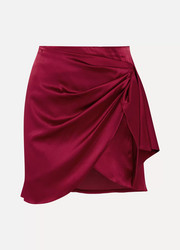 Koren wrap-effect silk-blend satin mini skirt