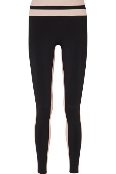 VAARA Flo Tuxedo Striped Stretch-Jersey Leggings in Black