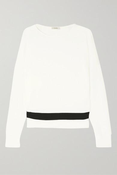 VAARA Zahra Striped Stretch-Modal Sweater in White