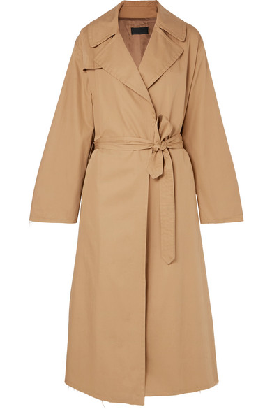 TOPHER DISTRESSED COTTON-GABARDINE TRENCH COAT