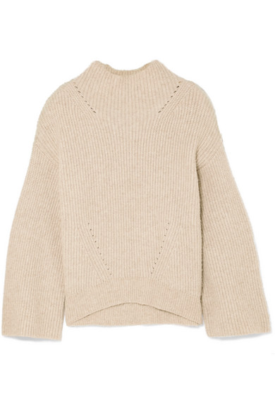 Ronnie Ribbed Cashmere Sweater, Beige