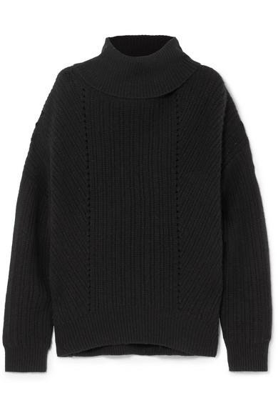Keiran Ribbed Cashmere Turtleneck Sweater, Black