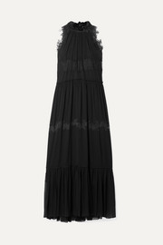 Lace-trimmed stretch-silk crepon maxi dress