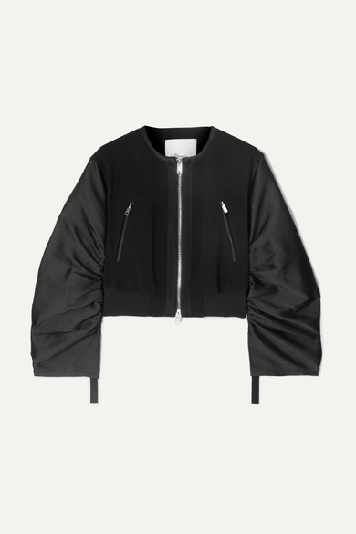Shirred Cropped Crepe And Taffeta Bomber Jacket in Black