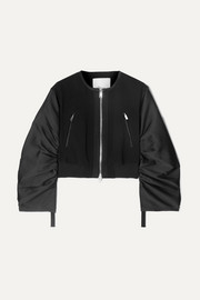 Shirred cropped crepe and taffeta bomber jacket