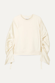 3.1 Phillip Lim Ruched grosgrain-trimmed satin-twill and cotton-jersey sweatshirt