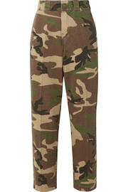 Camouflage-print cotton-twill wide-leg pants