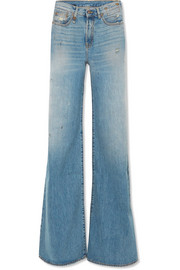 R13 Raegan distressed high-rise wide-leg jeans