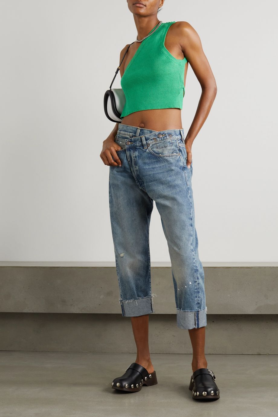 R13 Crossover asymmetric distressed high-rise wide-leg jeans