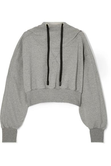 Ma Aku Cropped Cotton-Blend Jersey Hoodie, Gray