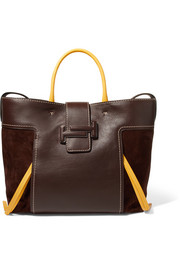 Double T large leather and suede tote