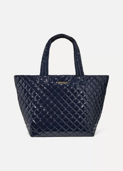 Metro leather-trimmed quilted vinyl tote