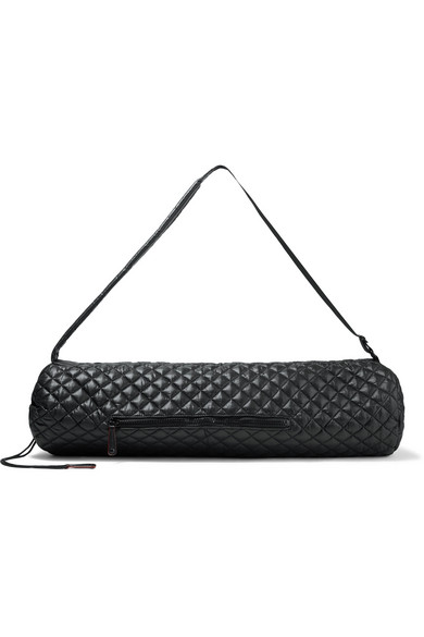 Leather-trimmed quilted shell yoga mat bag