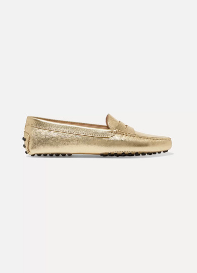 Tod's - Gommino Metallic Textured-leather Loafers - Gold