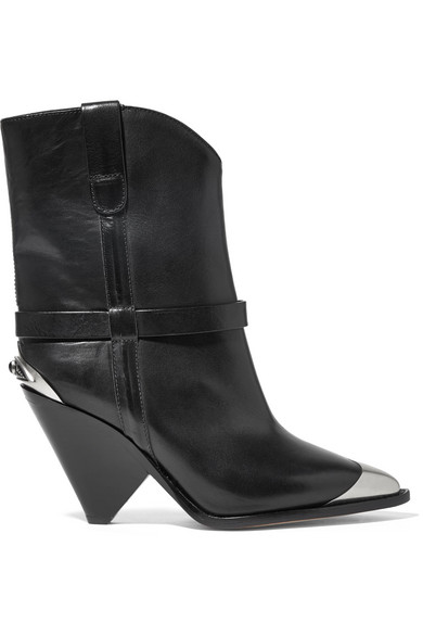 Women'S Leather Heel Ankle Boots Booties Lamsy in 01Bk Black