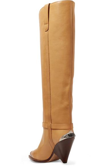 d3a53359c92 Isabel Marant. Lenskee metal-trimmed leather knee boots. £1
