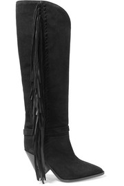 Lenston fringed suede knee boots