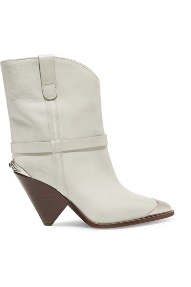 Lamsy Metal-Trimmed Leather Cowboy Boots, White