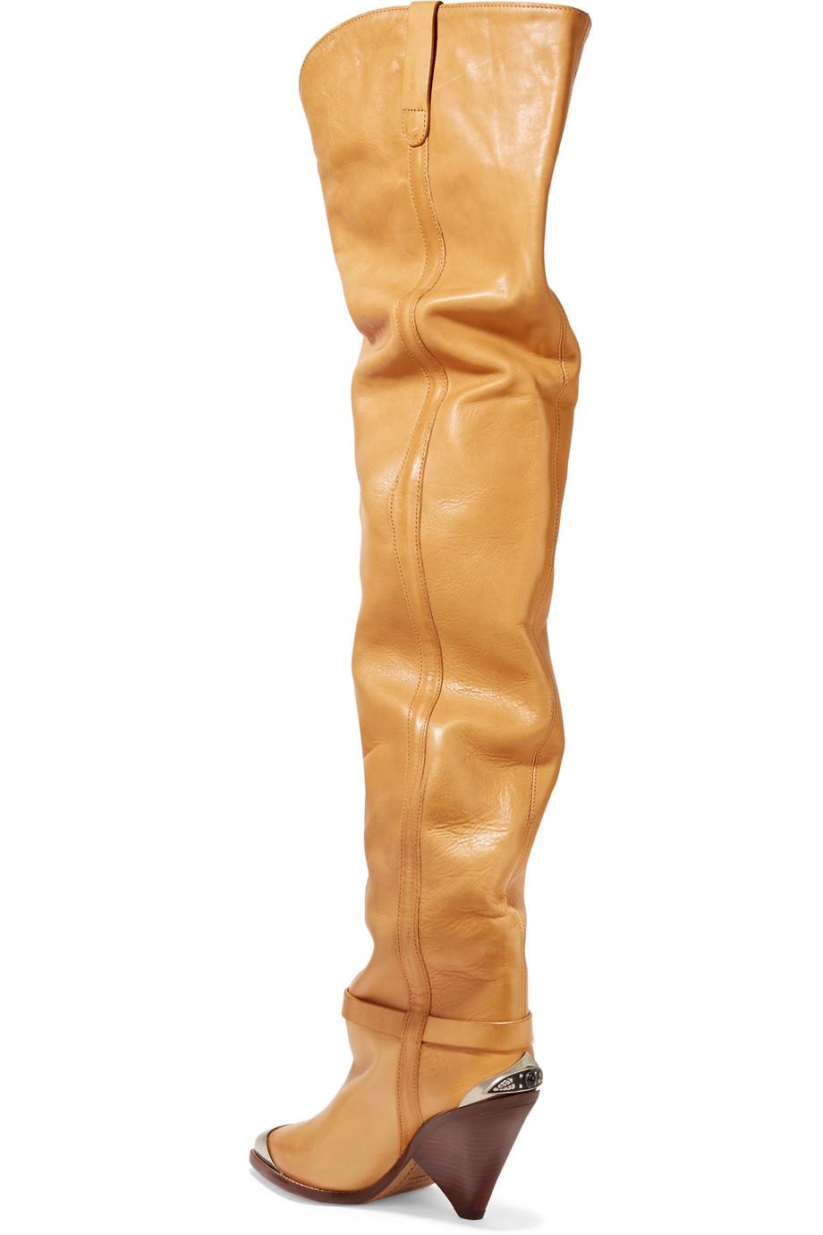 e42daefe92d Isabel Marant Lafsten embellished leather over-the-knee boots