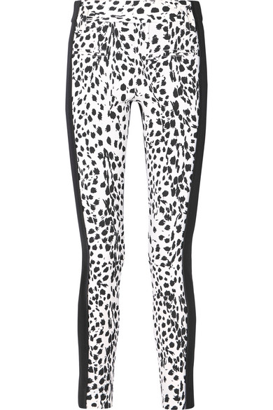Leopard-Print Wool And Leather Slim-Leg Pants in White