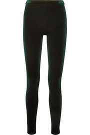 Stretch-velvet slim-leg pants