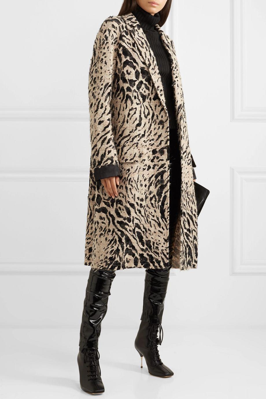 Haider Ackermann Satin-trimmed bouclé coat