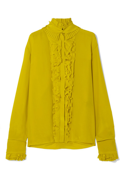 f5a543c166b4e Haider Ackermann - Pleated Ruffled Silk Crepe De Chine Blouse - Chartreuse