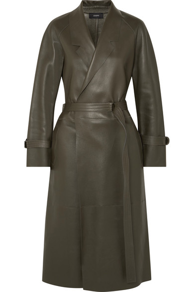 Solferino Oversized Leather Trench Coat by Joseph