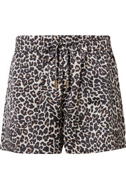 Ashley leopard-print silk-charmeuse pajama shorts