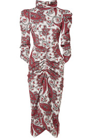Isabel Marant Tizy draped printed crepe de chine midi dress