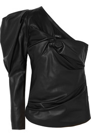 Noop one-shoulder ruched leather top